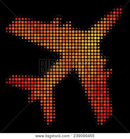 Pixelated Jet Plane Icon. Bright Pictogram In Orange Color Tinges On A Black Background. Vector Half