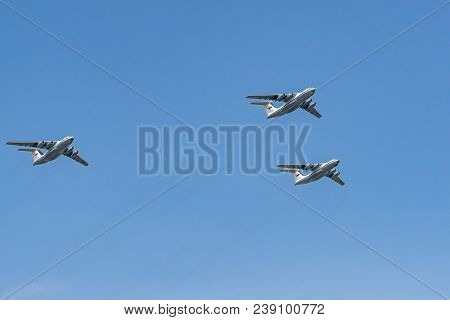 Moscow, Russia - May 04, 2018:  Military Transport Aircraft Il-76 Md