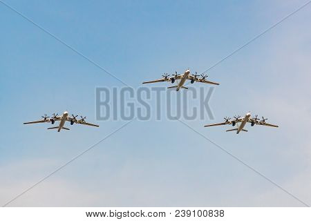 Moscow, Russia - May 04, 2018: Group Of Russians Strategic Bomber Tupolev Tu-95 During Victory Day P