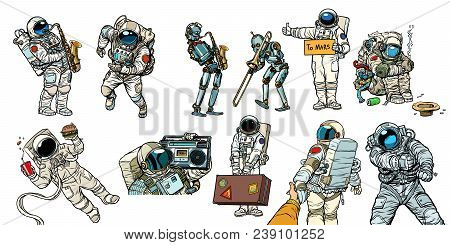 Set Collection Astronauts And Robots. Homeless Traveler Musician Hitchhiker Customer Fast Food. Comi