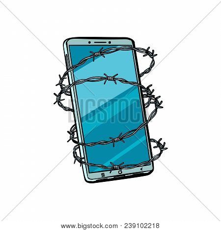Barbed Wire And Telephone. Isolated On White Background. Pop Art Retro Vector Illustration Comic Car