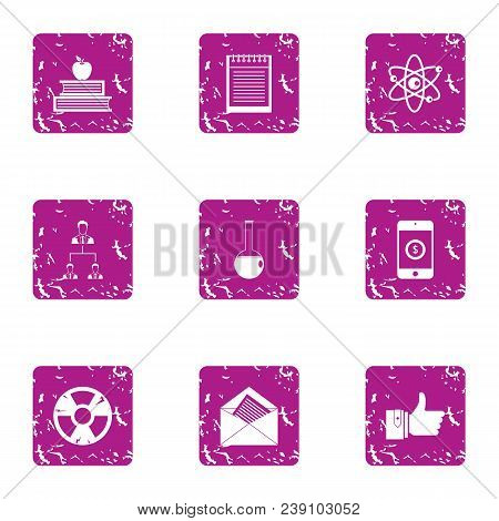 Academic Year Icons Set. Grunge Set Of 9 Academic Year Vector Icons For Web Isolated On White Backgr