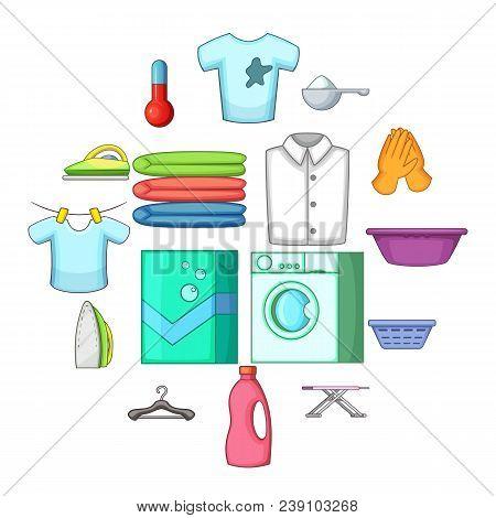 Laundry Icons Set. Cartoon Illustration Of 16 Laundry Vector Icons For Web