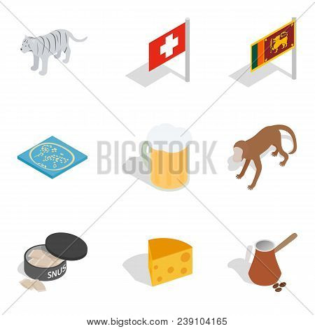 Worldwide Tour Icons Set. Isometric Set Of 9 Worldwide Tour Vector Icons For Web Isolated On White B