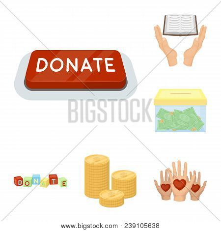 Charity And Donation Cartoon Icons In Set Collection For Design. Material Aid Vector Symbol Stock  I