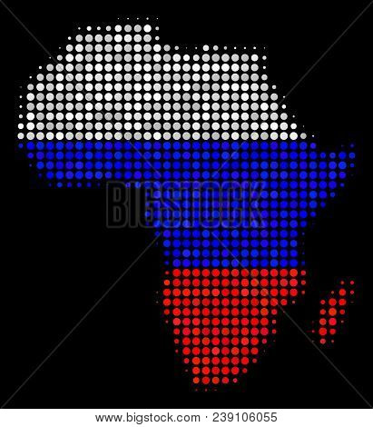 Halftone Dotted Africa Map. Vector Geographic Map In Russia Official Flag Colors On A Dark Backgroun