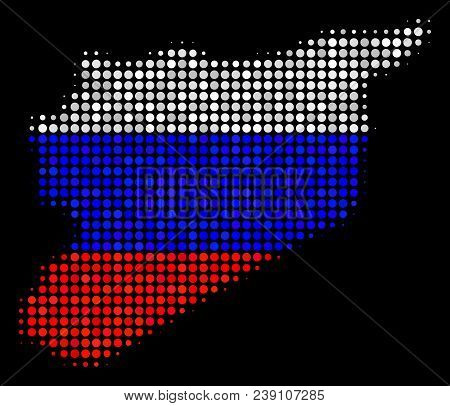 Halftone Dotted Syria Map. Vector Geographic Map In Russia Official Flag Colors On A Dark Background