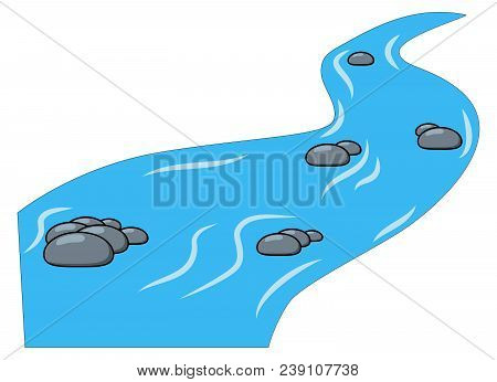 Cartoon Brook, River Isolated On White Background.