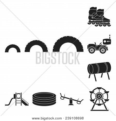 Playground, Entertainment Black Icons In Set Collection For Design. Attraction And Equipment Vector