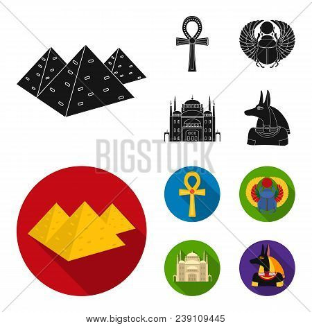 Anubis, Ankh, Cairo Citadel, Egyptian Beetle.ancient Egypt Set Collection Icons In Black, Flat Style