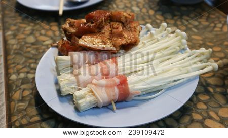 Bacon Wrapped Enoki Or Bacon Wrapped Mushroom And Pork Dish