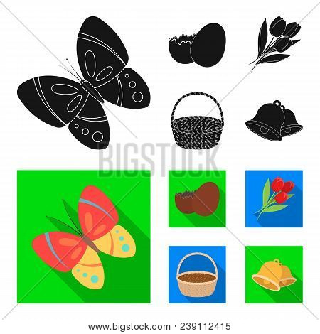 Chocolate Egg, Bells, Basket And Flowers.easter Set Collection Icons In Black, Flat Style Vector Sym