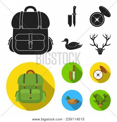 Knife With A Cover, A Duck, A Deer Horn, A Compass With A Lid.hunting Set Collection Icons In Black,