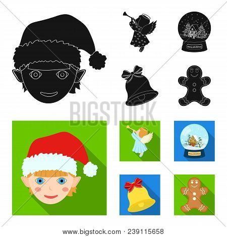 Angel, Glass Bowl, Gingerbread And Bell Black, Flat Icons In Set Collection For Design. Christmas Ve