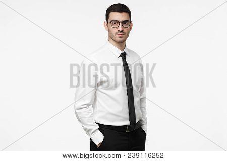 Half-length Picture Of Young European Caucasian Employee Isolated On White Background Wearing Formal