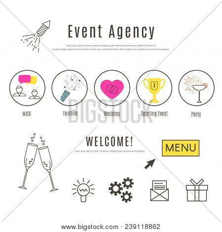 Event Agency Web Design Template. Thin Line Icons Of Special  Events. Business Event, Festival, Wedd