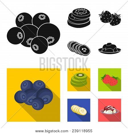 Fruits And Other Food. Food Set Collection Icons In Black, Flat Style Vector Symbol Stock Illustrati