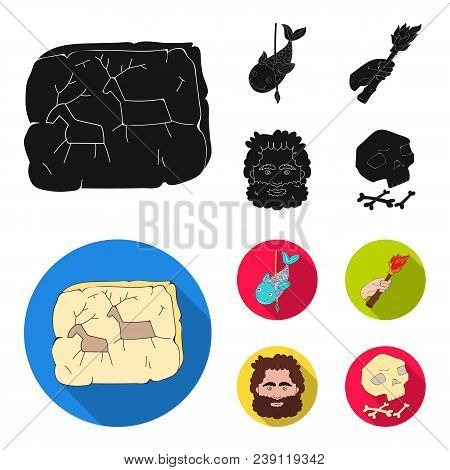 Primitive, Fish, Spear, Torch .stone Age Set Collection Icons In Black, Flat Style Vector Symbol Sto