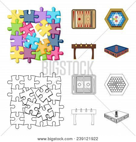 Board Game Cartoon, Outline Icons In Set Collection For Design. Game And Entertainment Vector Symbol