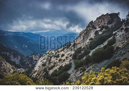 Vast Canyon On A Cloudy Day In The Angeles National Forest Along The Scenic Angeles Crest Scenic Byw