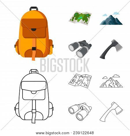Backpack, Mountains, Map Of The Area, Binoculars. Camping Set Collection Icons In Cartoon, Outline S