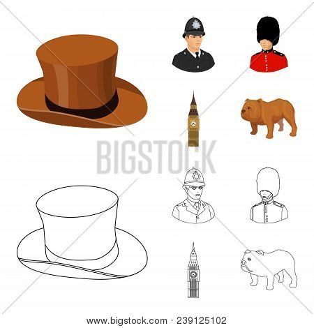 England, Gentleman, Hat, Officer .england Country Set Collection Icons In Cartoon, Outline Style Vec