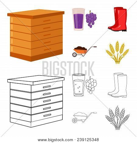 Hive, Grapes, Boots, Wheelbarrow.farm Set Collection Icons In Cartoon, Outline Style Vector Symbol S