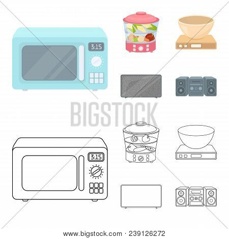 Steamer, Microwave Oven, Scales, Lcd Tv.household Set Collection Icons In Cartoon, Outline Style Vec