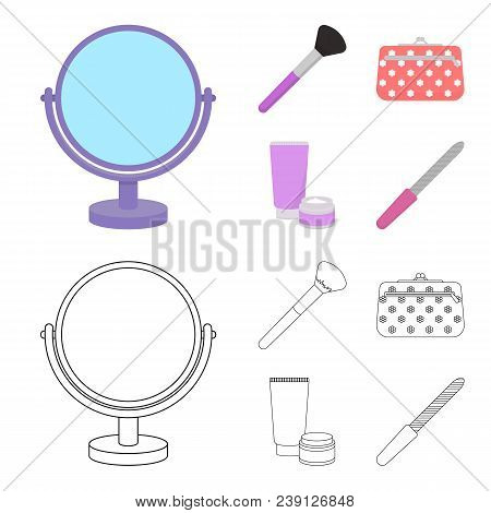 Table Mirror, Cosmetic Bag, Face Brush, Body Cream.makeup Set Collection Icons In Cartoon, Outline S