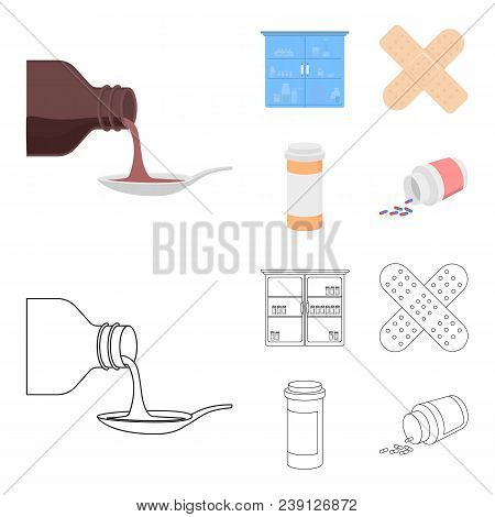 Syrup In A Spoon, Plaster, Honey, Medical Cabinet.medicine Set Collection Icons In Cartoon, Outline