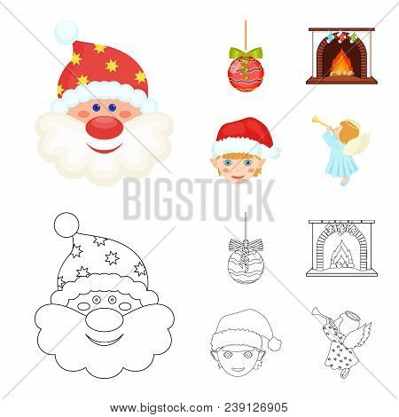 Santa Claus, Dwarf, Fireplace And Decoration Cartoon, Outline Icons In Set Collection For Design. Ch