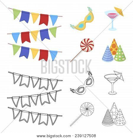 Garlands, Cocktail And Other Accessories At The Party.party And Partits Set Collection Icons In Cart