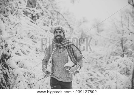 Skincare And Beard Care In Winter. Temperature, Freezing, Cold Snap, Snowfall. Bearded Man With Skat