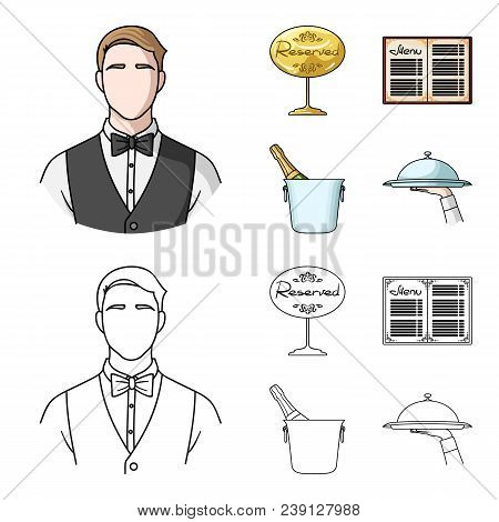 Waiter, Reserve Sign, Menu, Champagne In An Ice Bucket.restaurant Set Collection Icons In Cartoon, O