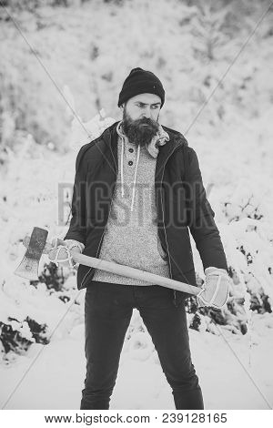 Temperature, Freezing, Cold Snap, Snowfall. Camping, Traveling And Winter Rest. Skincare And Beard C