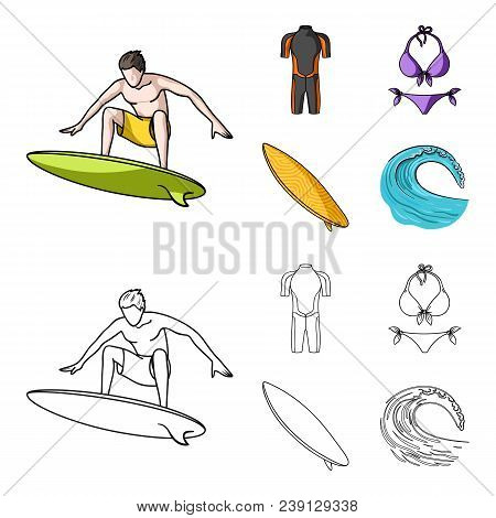 Surfer, Wetsuit, Bikini, Surfboard. Surfing Set Collection Icons In Cartoon, Outline Style Vector Sy