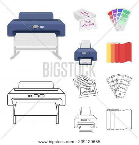 Printer, Credit Card, Color Palette.typography Set Collection Icons In Cartoon, Outline Style Vector