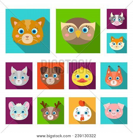 Muzzles Of Animals Flat Icons In Set Collection For Design. Wild And Domestic Animals Vector Symbol
