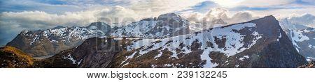 Panoramic Shot Of Beautiful Panoramic Scene, Sunrise Over Mountain and Fjord, Lofoten Island, Norway