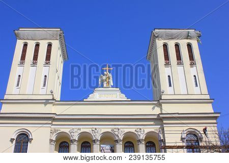 St. Petersburg, Russia - April 9, 2018: Lutheran Church Of St. Peter And Paul Outdoor Architecture.