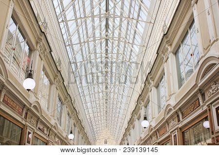 St. Petersburg, Russia - April 7, 2018: Passage Gallery Archway And Classical Interior With Glass Ro