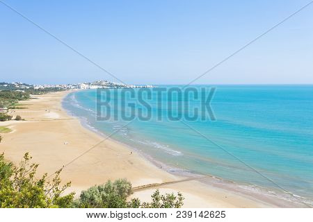 Vieste, Apulia, Italy - View From A Lookout Above The Bay Of Vieste