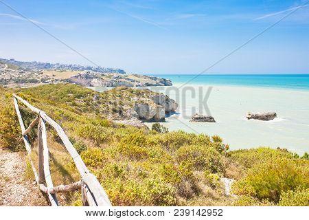 Pescichi, Apulia, Italy, Europe - Hiking Trail Along The Cliffs Of Pescichi