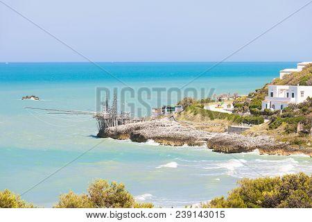 Spiaggia Di San Nicola, Apulia, Italy - Traditional Fishing Trabucco At The Beach