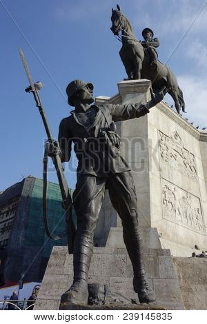 Ankara, Turkey - 11 February 2018: The statue of Ataturk and national flags of modern Turkey in Ulus - Ankara, Turkey