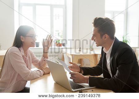 Hr And Applicant Laughing During Successful Job Interview, Happy Vacancy Candidate Talking To Smilin