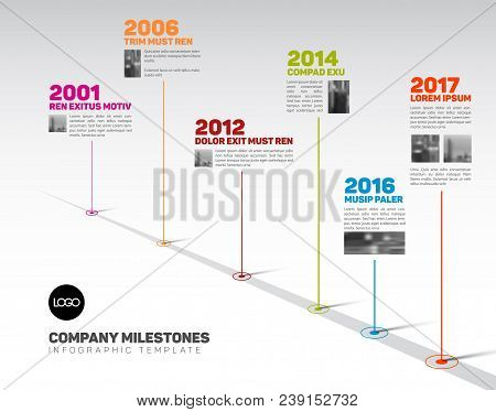 Vector Infographic Company Milestones Timeline Template With Pointers And Photos On A Straight Road