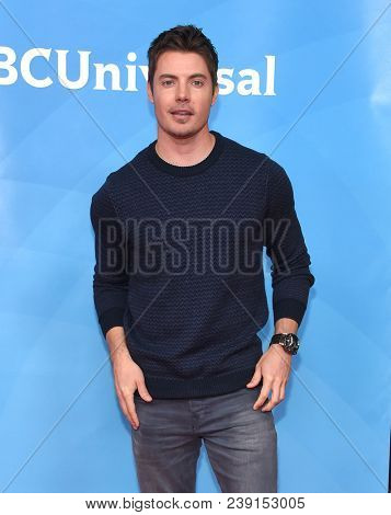 LOS ANGELES - MAY 02:  Josh Henderson arrives for the NBCUniversal Summer Press Day 2018 on May 2, 2018 in Universal City, CA