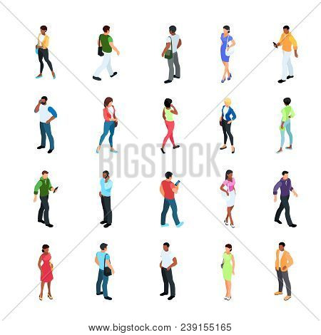Set Of Isometric People With Different Skin Color Isolated On White Background. 3d Men And Women Vie