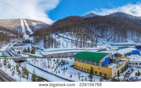 Sochi, Russia-january 3, 2017: Panorama Of The Gazprom Ski Resort.